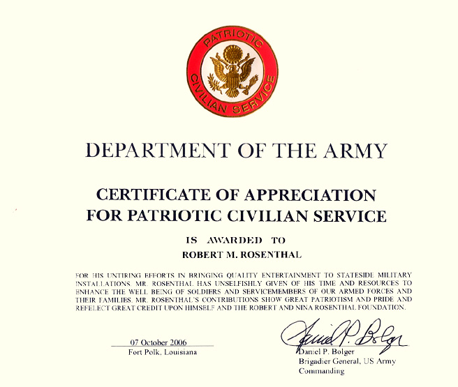 ... Certificate Of Appreciation From The Department Of The Army And  Brigadier General Daniel P. Bolger ...  Army Certificate Of Appreciation